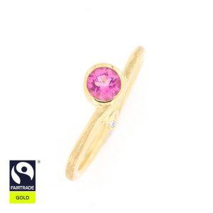 Zarter Goldring mit rosafarbenem Turmalin und Brillanten