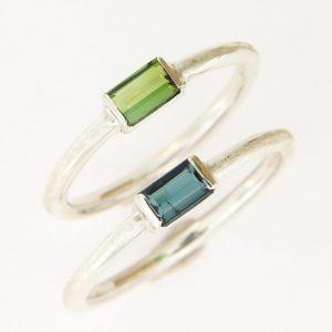 Silberring mit grünem oder blauem Turmalin