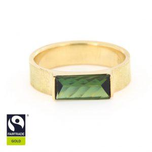 Eleganter Goldring mit grünem Turmalin