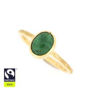 Zarter Goldring mit grünem Turmalin