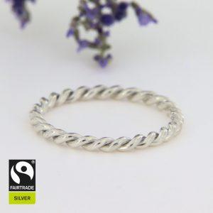 Kordelring aus Fairtrade-zertifiziertem Silber